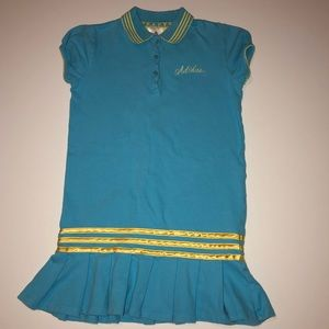 Adidas Tennis Dress Aqua Blue with Yellow Stripes